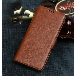 Кожаный чехол портмоне подставка (премиум нат. кожа) с крепежной застежкой для ASUS ZenFone 5 ZE620KL/5Z Бежевый