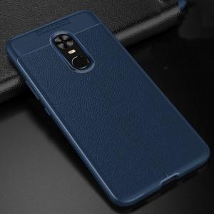 Силиконовый матовый непрозрачный чехол с текстурным покрытием Кожа для Xiaomi RedMi Note 4X Синий