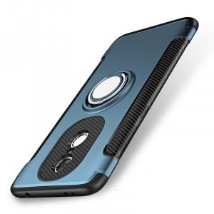 Противоударный двухкомпонентный силиконовый матовый непрозрачный чехол с нескользящими гранями и поликарбонатными вставками экстрим защиты с металлическим кольцом-подставкой для Xiaomi RedMi Note 4X Синий