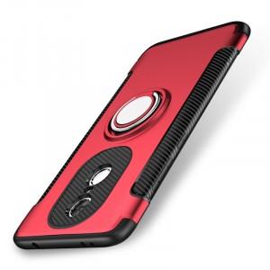 Противоударный двухкомпонентный силиконовый матовый непрозрачный чехол с нескользящими гранями и поликарбонатными вставками экстрим защиты с металлическим кольцом-подставкой для Xiaomi RedMi Note 4X Красный