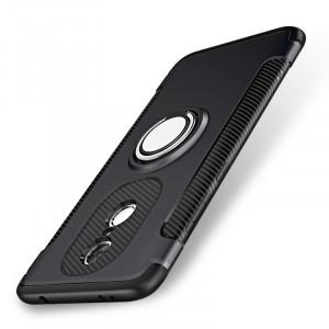 Противоударный двухкомпонентный силиконовый матовый непрозрачный чехол с нескользящими гранями и поликарбонатными вставками экстрим защиты с металлическим кольцом-подставкой для Xiaomi RedMi Note 4X Черный