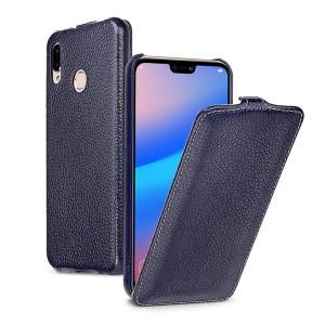 Кожаный чехол вертикальная книжка (премиум нат. кожа) (с защелкой) для Huawei P20 Lite