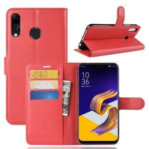 Чехол портмоне подставка на силиконовой основе с отсеком для карт на магнитной защелке для ASUS ZenFone 5 ZE620KL/5Z Красный