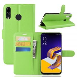 Чехол портмоне подставка на силиконовой основе с отсеком для карт на магнитной защелке для ASUS ZenFone 5 ZE620KL/5Z Зеленый