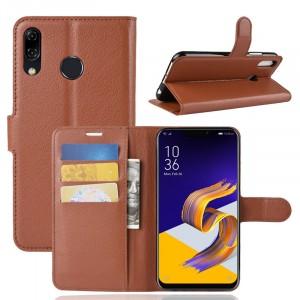 Чехол портмоне подставка на силиконовой основе с отсеком для карт на магнитной защелке для ASUS ZenFone 5 ZE620KL/5Z Коричневый