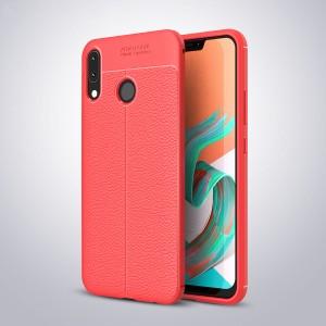 Силиконовый матовый непрозрачный чехол с текстурным покрытием Кожа для ASUS ZenFone 5 ZE620KL/5Z Красный