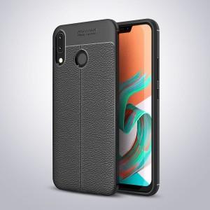 Силиконовый матовый непрозрачный чехол с текстурным покрытием Кожа для ASUS ZenFone 5 ZE620KL/5Z Черный