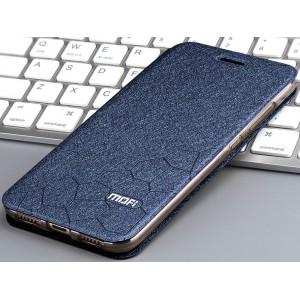 Чехол горизонтальная книжка подставка текстура Соты на силиконовой основе для Huawei Honor 7A Pro/7C/Y6 Prime (2018) Синий