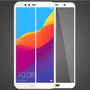 Полноэкранное ультратонкое износоустойчивое сколостойкое олеофобное защитное стекло-пленка для для Huawei Honor 7A Pro/7C/Y6 Prime (2018) Белый