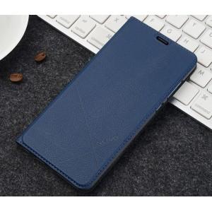 Чехол горизонтальная книжка подставка текстура Линии на пластиковой основе с отсеком для карт для Huawei Honor 7A Pro/7C/Y6 Prime (2018) Синий