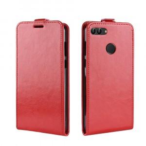 Глянцевый водоотталкивающий чехол вертикальная книжка на силиконовой основе с отсеком для карт на магнитной защелке для Huawei Honor 7A Pro/7C/Y6 Prime (2018) Красный