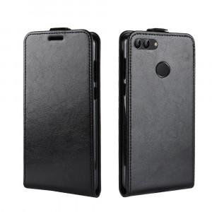 Глянцевый водоотталкивающий чехол вертикальная книжка на силиконовой основе с отсеком для карт на магнитной защелке для Huawei Honor 7A Pro/7C/Y6 Prime (2018) Черный