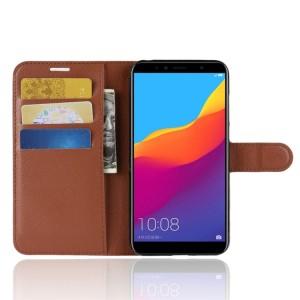 Чехол портмоне подставка на силиконовой основе с отсеком для карт на магнитной защелке для Huawei Honor 7A Pro/7C/Y6 Prime (2018) Коричневый