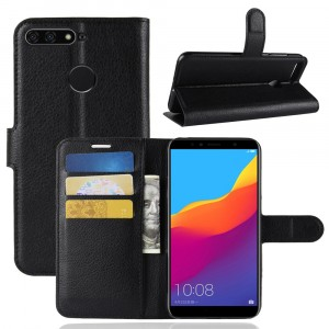Чехол портмоне подставка на силиконовой основе с отсеком для карт на магнитной защелке для Huawei Honor 7A Pro/7C/Y6 Prime (2018) Черный
