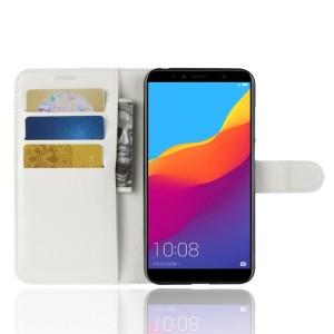 Чехол портмоне подставка на силиконовой основе с отсеком для карт на магнитной защелке для Huawei Honor 7A Pro/7C/Y6 Prime (2018) Белый