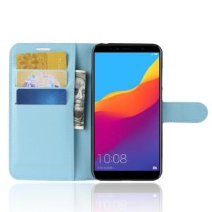Чехол портмоне подставка на силиконовой основе с отсеком для карт на магнитной защелке для Huawei Honor 7A Pro/7C/Y6 Prime (2018) Голубой