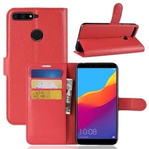 Чехол портмоне подставка на силиконовой основе с отсеком для карт на магнитной защелке для Huawei Honor 7A Pro/7C/Y6 Prime (2018) Красный