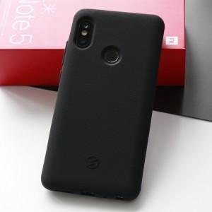 Силиконовый матовый непрозрачный чехол с нескользящим софт-тач покрытием для Xiaomi RedMi Note 5/5 Pro Черный
