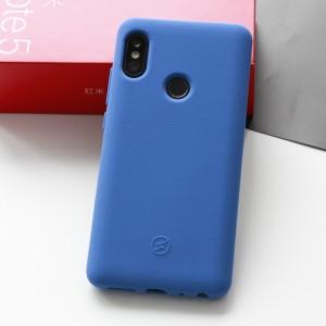 Силиконовый матовый непрозрачный чехол с нескользящим софт-тач покрытием для Xiaomi RedMi Note 5/5 Pro Синий