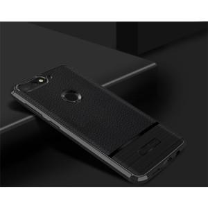 Силиконовый матовый непрозрачный чехол с текстурным покрытием Кожа для Huawei Honor 7A Pro/7C/Y6 Prime (2018) Черный