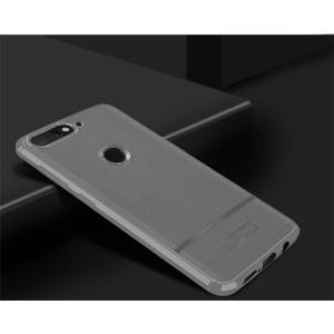 Силиконовый матовый непрозрачный чехол с текстурным покрытием Кожа для Huawei Honor 7A Pro/7C/Y6 Prime (2018) Белый
