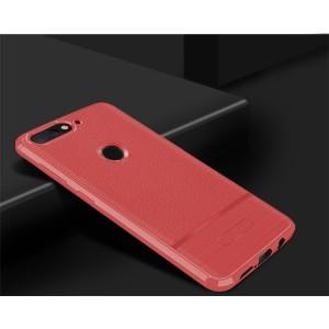 Силиконовый матовый непрозрачный чехол с текстурным покрытием Кожа для Huawei Honor 7A Pro/7C/Y6 Prime (2018) Красный