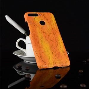 Пластиковый непрозрачный матовый чехол с текстурным покрытием Дерево для Huawei Honor 7A Pro/7C/Y6 Prime (2018) Оранжевый