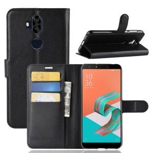 Чехол портмоне подставка на силиконовой основе с отсеком для карт на магнитной защелке для ASUS ZenFone 5 Lite  Черный