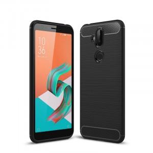 Силиконовый матовый непрозрачный чехол с текстурным покрытием Металлик для ASUS ZenFone 5 Lite Черный