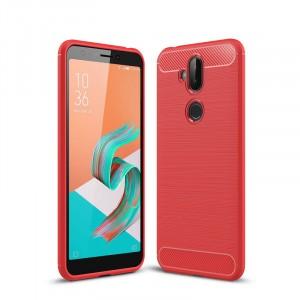 Силиконовый матовый непрозрачный чехол с текстурным покрытием Металлик для ASUS ZenFone 5 Lite Красный