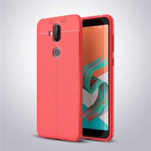 Силиконовый матовый непрозрачный чехол с текстурным покрытием Кожа для ASUS ZenFone 5 Lite  Красный