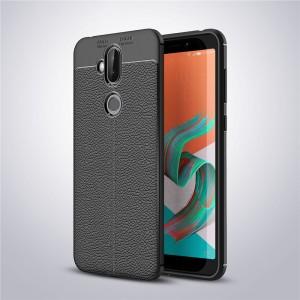 Силиконовый матовый непрозрачный чехол с текстурным покрытием Кожа для ASUS ZenFone 5 Lite  Черный