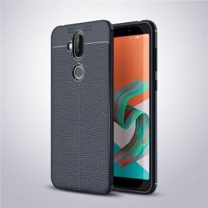 Силиконовый матовый непрозрачный чехол с текстурным покрытием Кожа для ASUS ZenFone 5 Lite  Синий