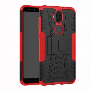 Противоударный двухкомпонентный силиконовый матовый непрозрачный чехол с нескользящими гранями и поликарбонатными вставками экстрим защиты с встроенной ножкой-подставкой для ASUS ZenFone 5 Lite  Красный