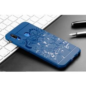Силиконовый матовый непрозрачный дизайнерский фигурный чехол с текстурным покрытием Дракон для Huawei P20 Lite