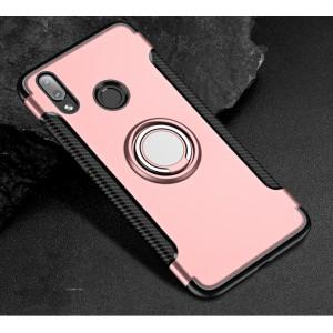 Противоударный двухкомпонентный силиконовый матовый непрозрачный чехол с металлическим кольцом-подставкой и нескользящими гранями и поликарбонатными вставками экстрим защиты для Huawei P20 Lite