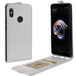 Глянцевый водоотталкивающий чехол вертикальная книжка на силиконовой основе с отсеком для карт на магнитной защелке для Xiaomi RedMi Note 5/5 Pro Белый