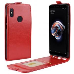 Глянцевый водоотталкивающий чехол вертикальная книжка на силиконовой основе с отсеком для карт на магнитной защелке для Xiaomi RedMi Note 5/5 Pro Красный