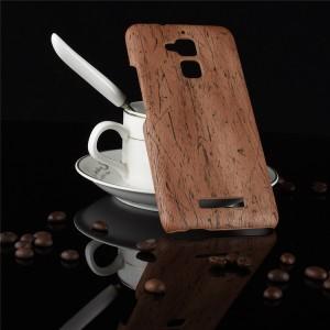 Пластиковый непрозрачный матовый чехол с текстурным покрытием Дерево для Asus ZenFone 3 Max Бежевый