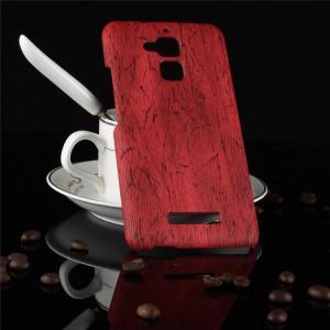 Пластиковый непрозрачный матовый чехол с текстурным покрытием Дерево для Asus ZenFone 3 Max Красный
