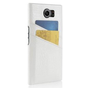 Чехол накладка текстурная отделка Кожа с отсеком для карт для Blackberry Priv  Белый
