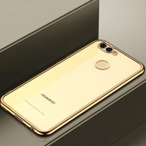 Силиконовый глянцевый полупрозрачный чехол с текстурным покрытием Металлик для Huawei Honor 7A Pro/7C/Y6 Prime (2018)