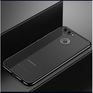 Силиконовый глянцевый полупрозрачный чехол с текстурным покрытием Металлик для Huawei Honor 7A Pro/7C/Y6 Prime (2018) Черный