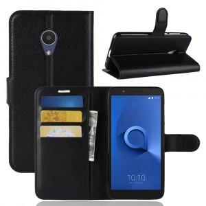 Чехол портмоне подставка на силиконовой основе с отсеком для карт на магнитной защелке для Alcatel 1X  Черный