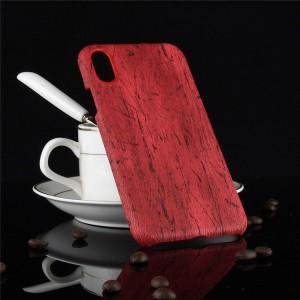Пластиковый непрозрачный матовый чехол с текстурным покрытием Дерево для Iphone X 10/XS Красный