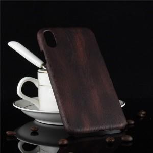 Пластиковый непрозрачный матовый чехол с текстурным покрытием Дерево для Iphone X 10  Коричневый