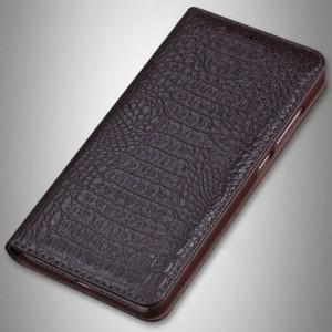 Кожаный чехол горизонтальная книжка (премиум нат. кожа крокодила) для Sony Xperia XA1