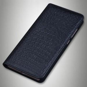 Кожаный чехол горизонтальная книжка (премиум нат. кожа крокодила) для Sony Xperia XA1 Черный