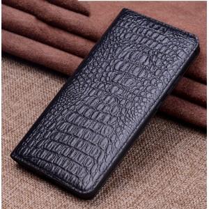 Кожаный чехол горизонтальная книжка подставка (премиум нат. кожа крокодила) для Xiaomi RedMi Note 5/5 Pro
