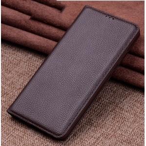 Кожаный чехол горизонтальная книжка подставка (премиум нат. кожа) для Xiaomi RedMi Note 5/5 Pro Коричневый